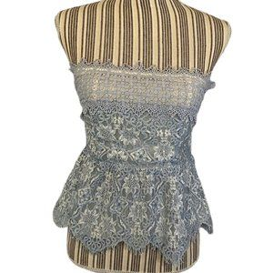 Foxiedox Anthro Blue Lace Crop Top SZ S